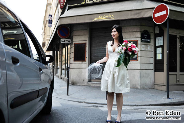 American bride on a Paris street