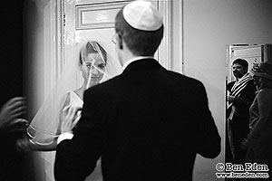 Photography of a Bedeken ceremony in a London Jewish wedding